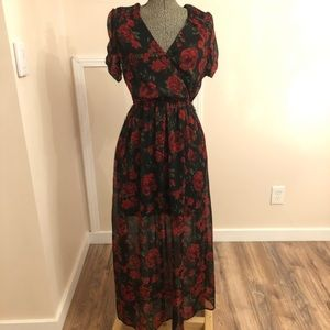 Disney's Coco Long Black Rose Dress